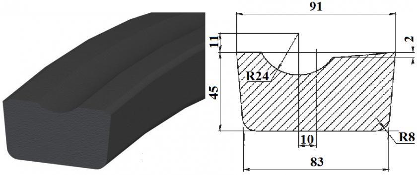 Профиль резиновый Ш100