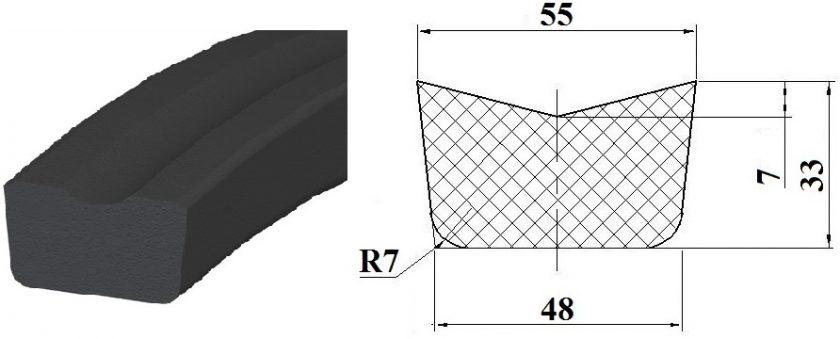 Профиль резиновый Ш65
